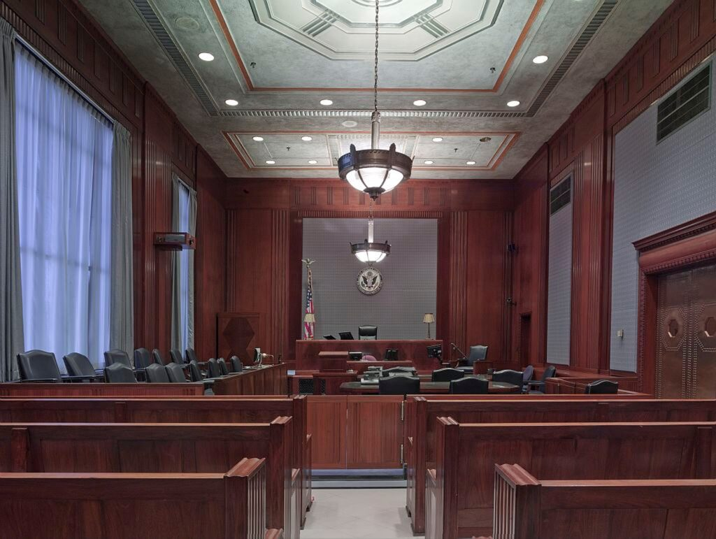 Courtroom depicting liability