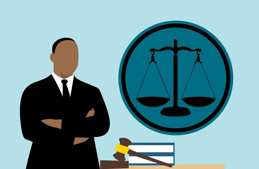 Cartoon of judge and scales of justice depicting trial