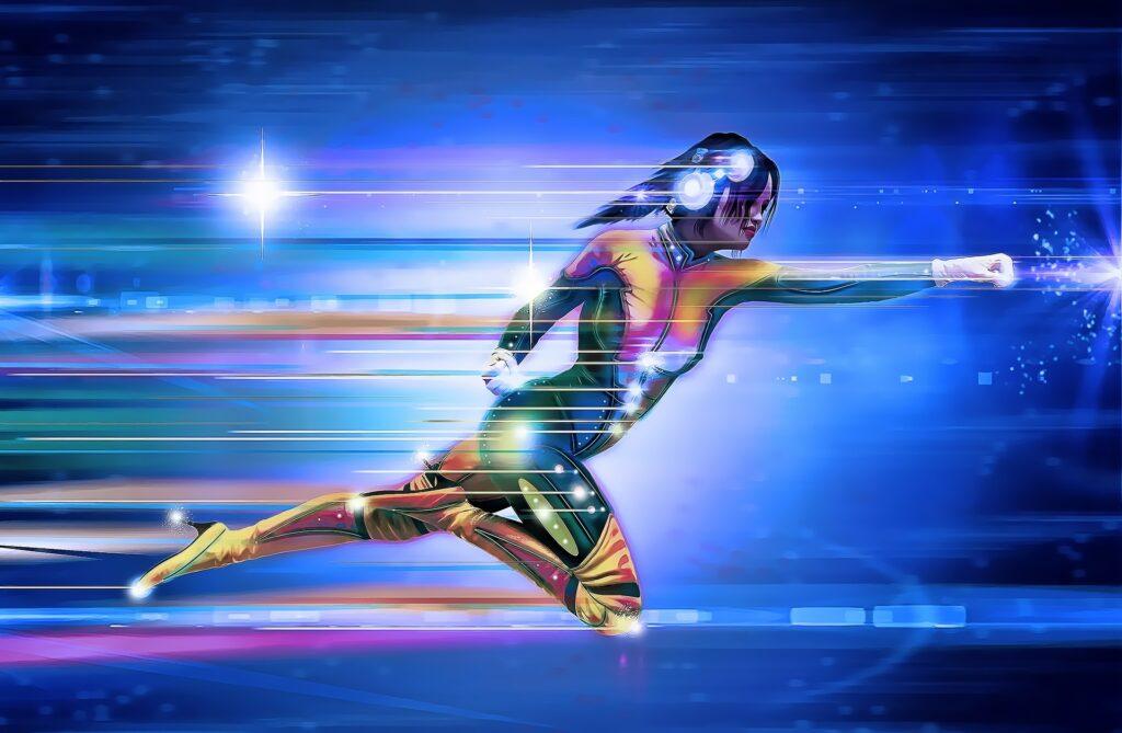 Female super hero speed running pose