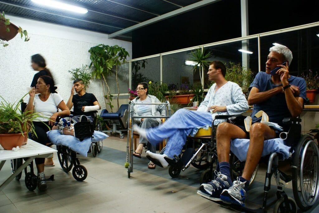 Multiple injured people in wheel chair representing multiple claimants