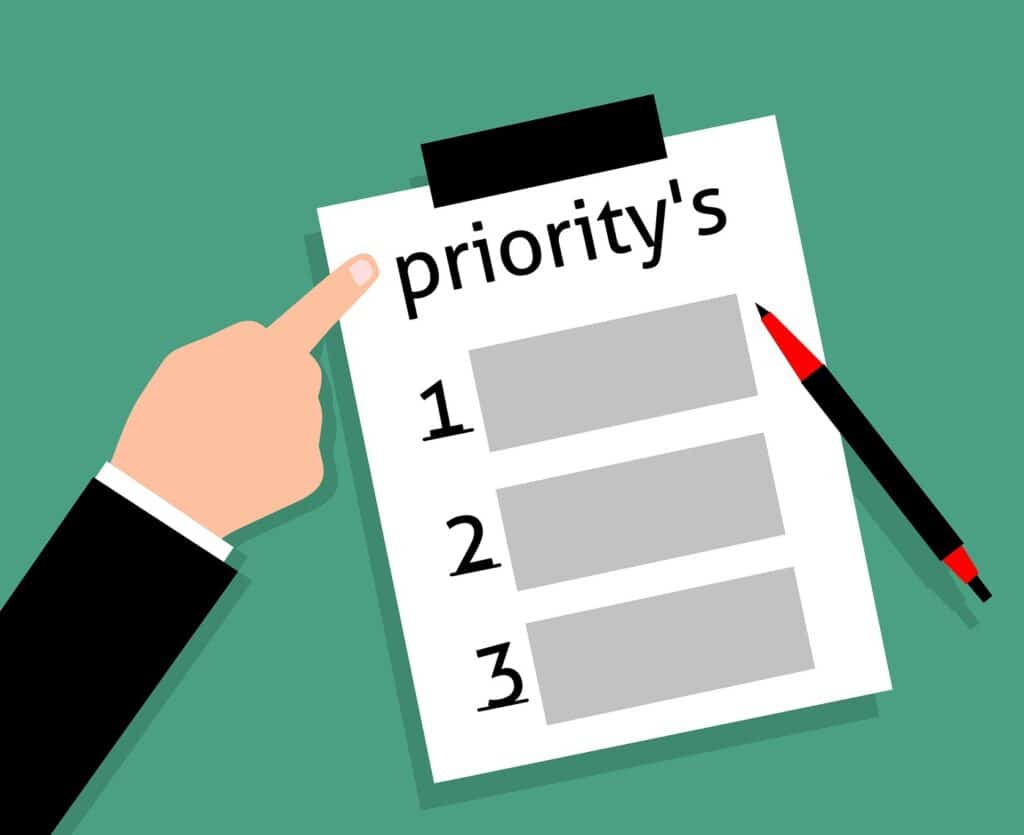 Clip art of priority list and finger pointing